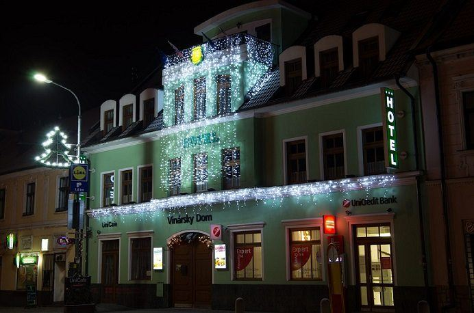 building decorated with LED icicle lights