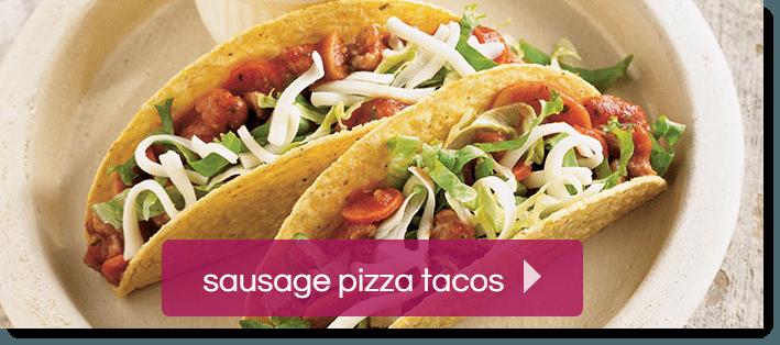 Sausage pizza tacos