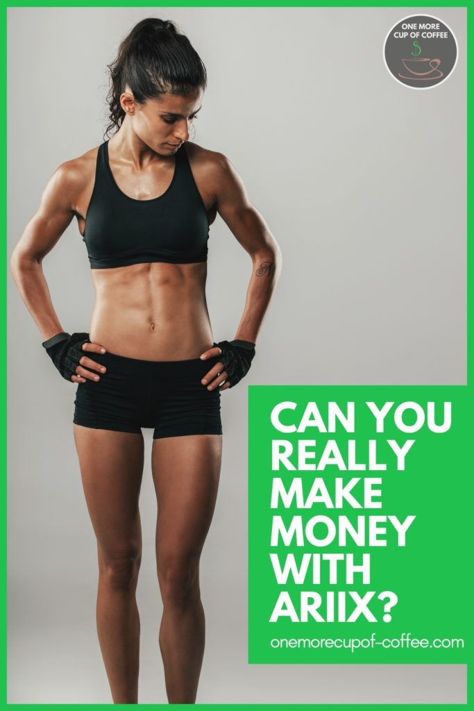 woman in two-piece workout outfit, hands on hips, looking down; with text overlay in green background