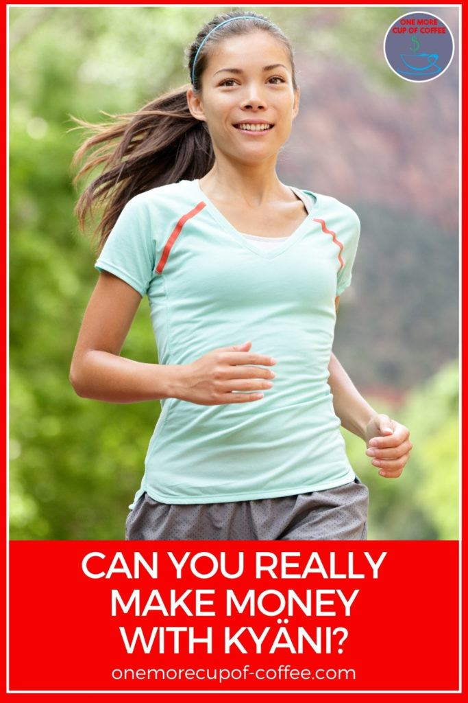 smiling woman in pony tail jogging, with text overlay