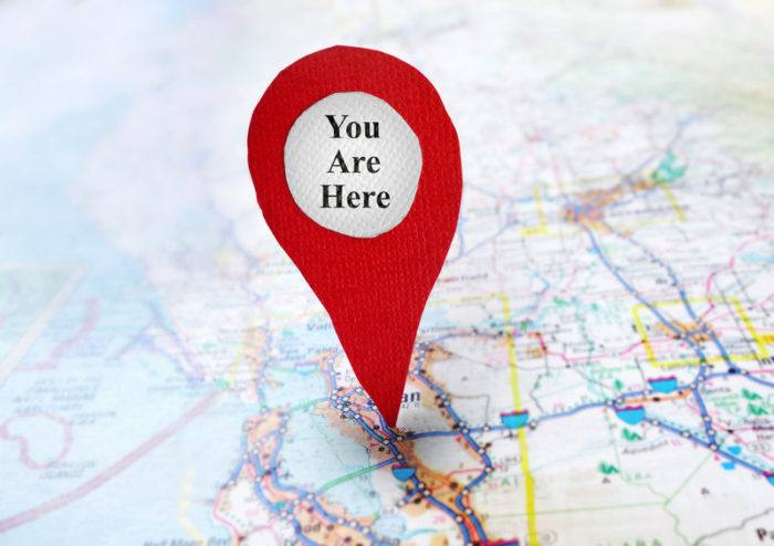 red pin on map representing affiliate website on which you are located