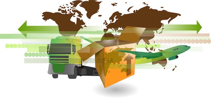 airplane and truck delivering drop shipped products world wide