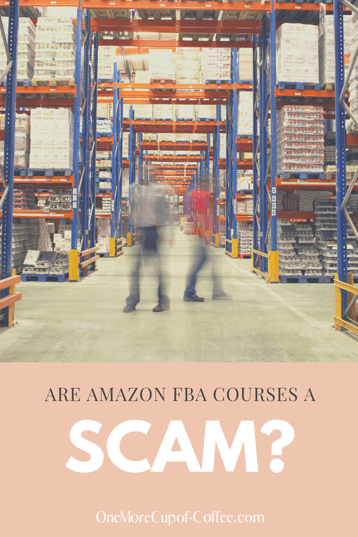 "image of amazon ware house with the text ""amazon fba courses a scam"""