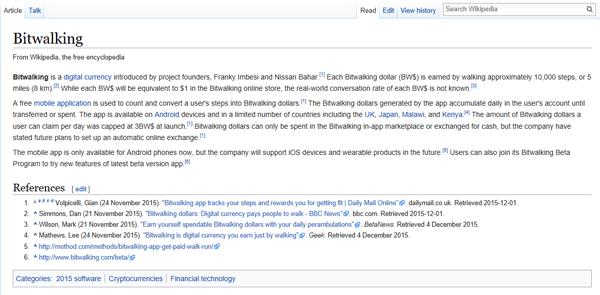 Bitwalking Wikipedia Page