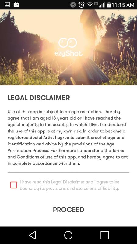 EzyShot Legal Disclaimer
