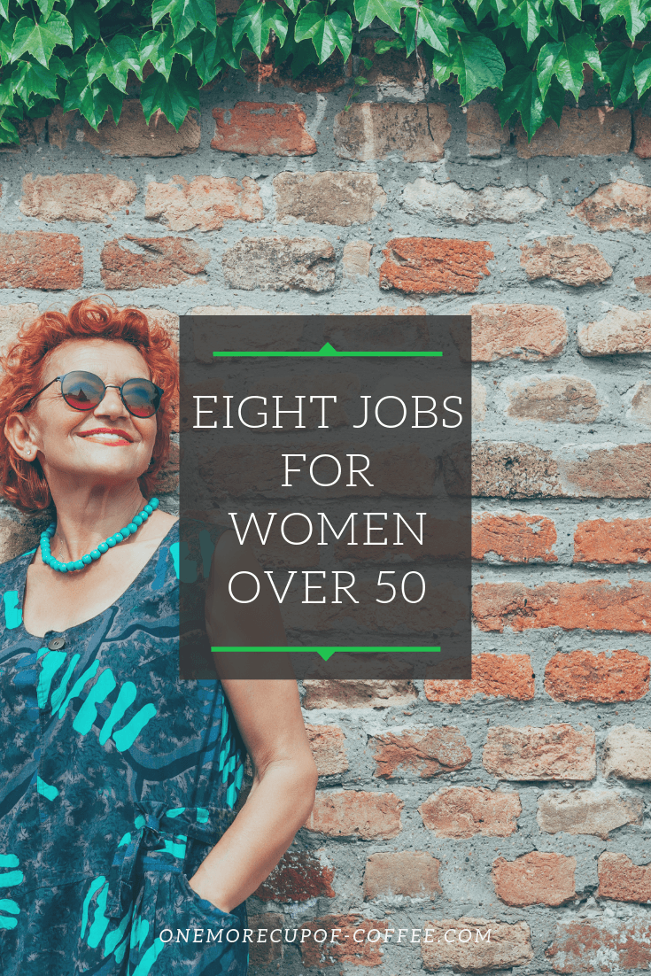 """brick wall with older woman with reddish short hair, including the title """"eight jobs for women over 50"""""""