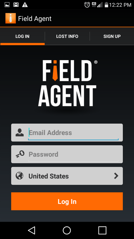 Field Agent Sign Up Screen