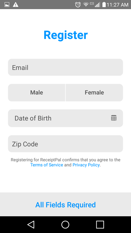 ReceiptPal Registration