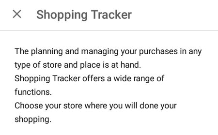 Shopping Tracker Description
