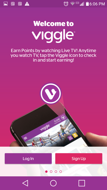 Viggle Log In Sign Up Screen