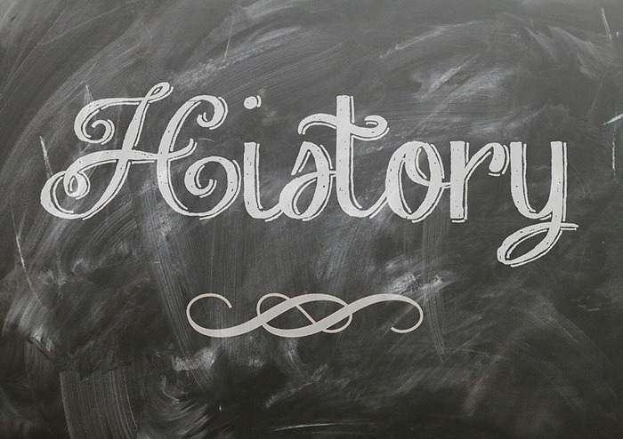 The word 'history' written on a chalkboard as an example of jobs for history majors
