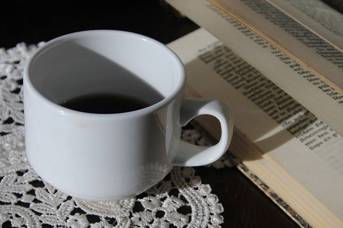 Solitary cup of coffee on a table as an example of jobs for introverts
