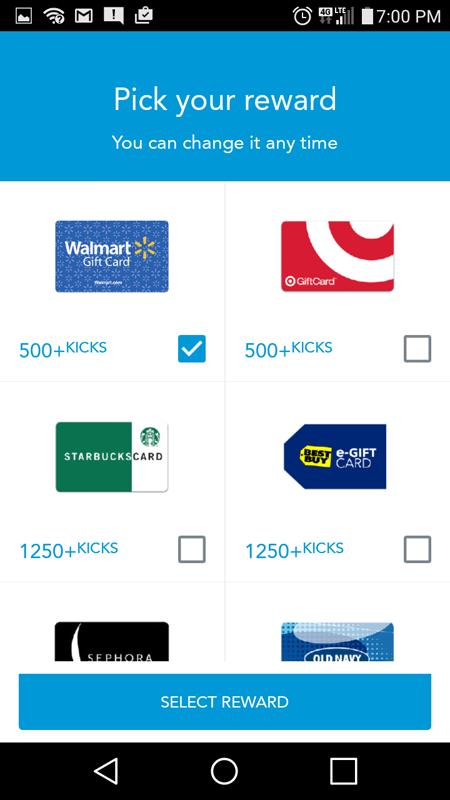 Choosing My Reward Type On Shopkick