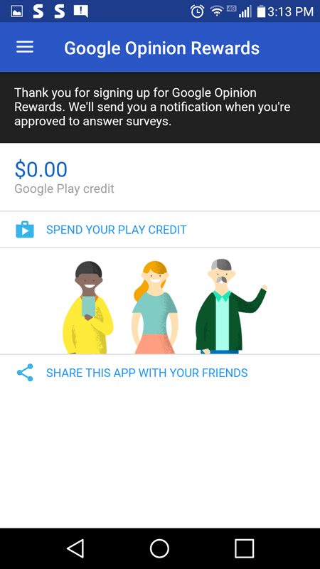 Main Hub Of The Google Opinion Rewards App
