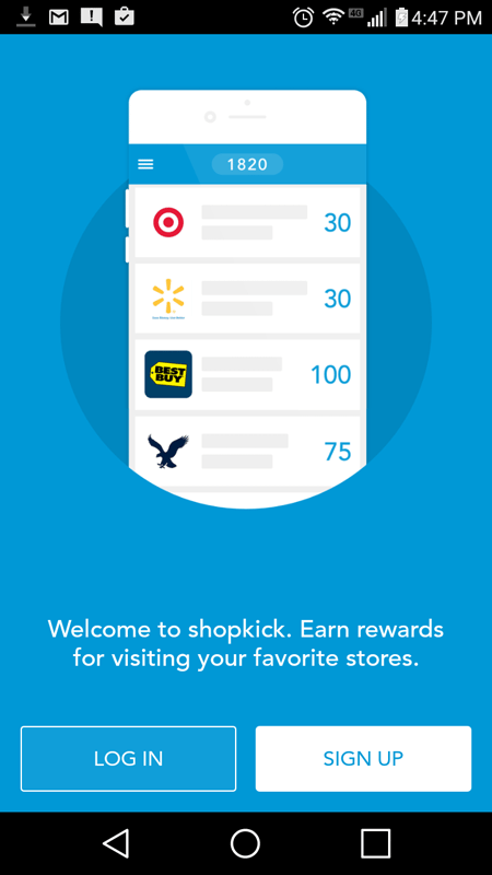 Shopkick Log In Screen