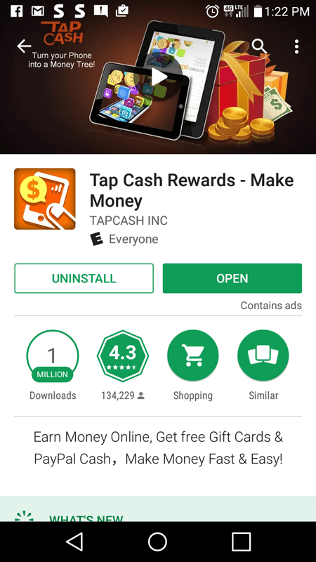 Tap Cash Rewards Basic Information