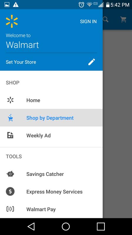 Walmart Drop Down Menu