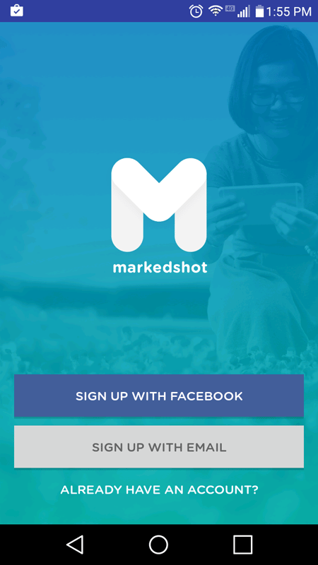 MarkedShot Introductory Screen