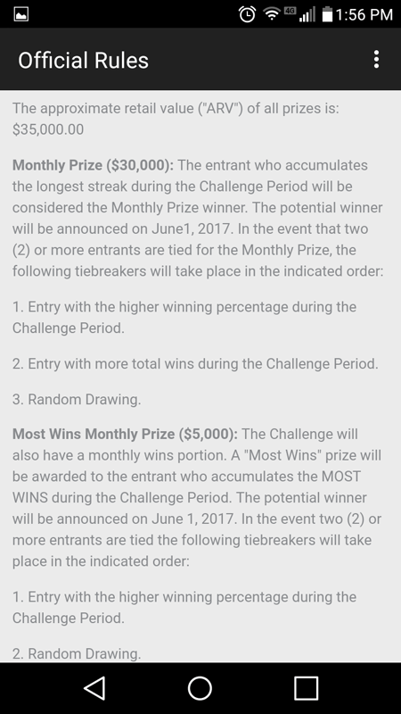 Official Rules About Winning