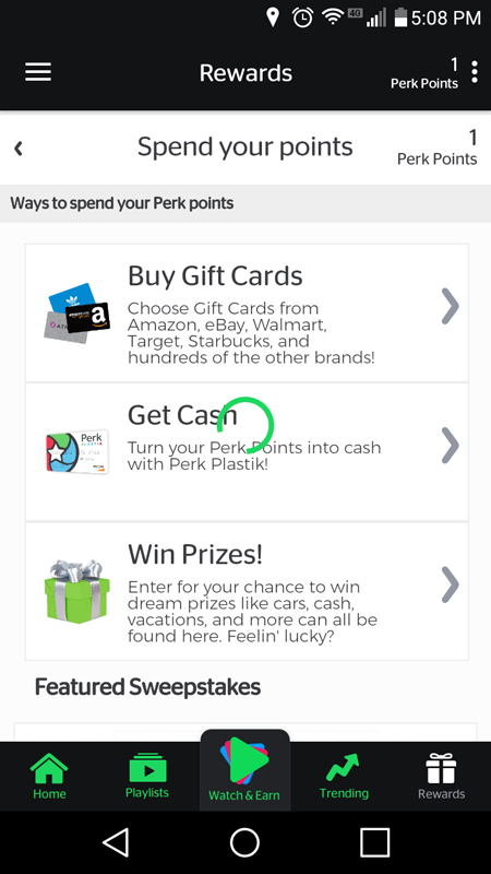 Perk TV Rewards Page