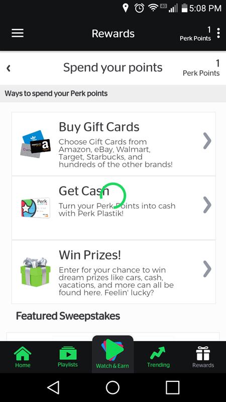 Perk TV Rewards Page