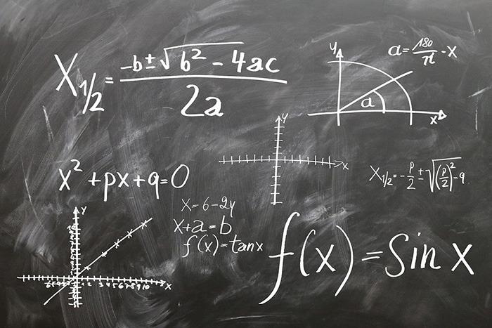 Complex math problem written on a blackboard as an example of jobs from math majors