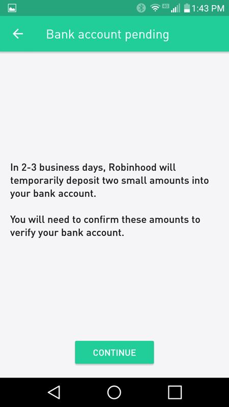 Bank Account Pending
