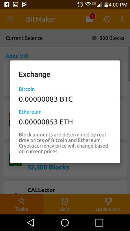 BitMaker Exchange Rate Of Blocks To BTC