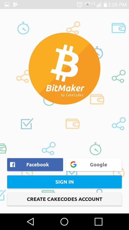 BitMaker Log In Screen