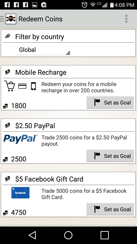 CashPirate Redeem Coins Page