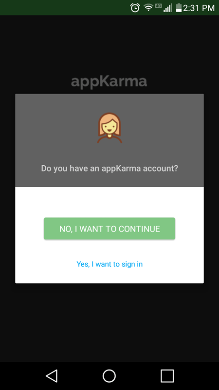 It Asked Me If I Had An AppKarma Account