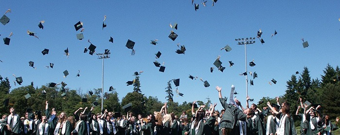 Large group of high school graduates throwing their caps into the air