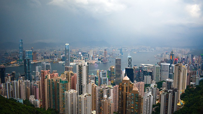 A view of the Hong Kong skyline as an example of job opportunities for Americans in Asia