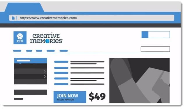 An image of a website through Creative Memories