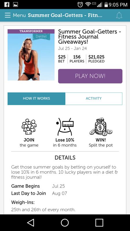 DietBet Game Details