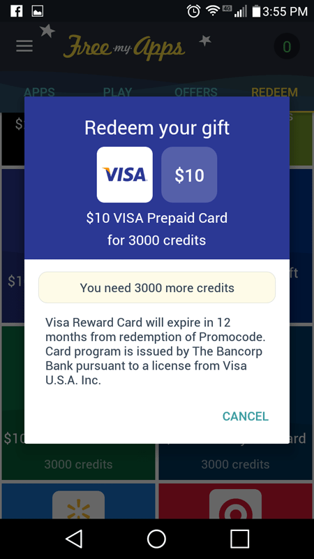 FreeMyApps Visa Giftcard