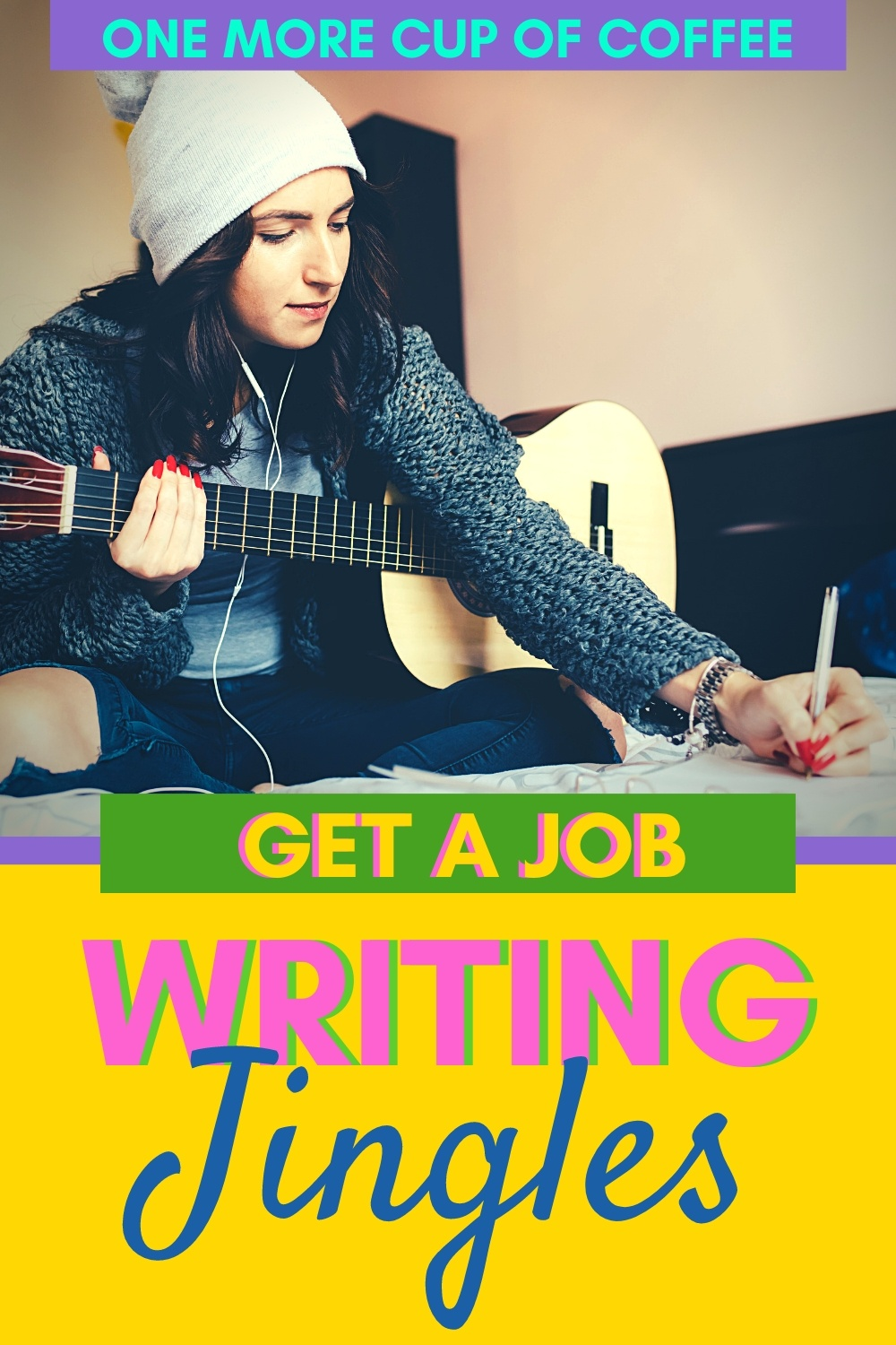 Woman songwriting with a guitar to illustrate getting a job writing jingles.