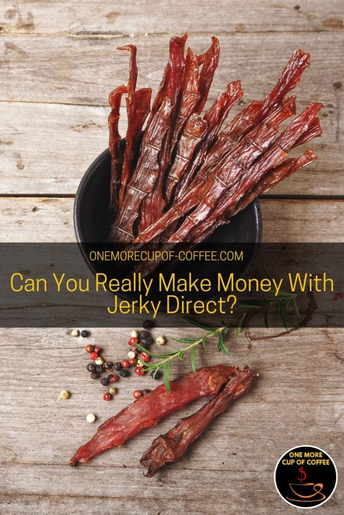 beef jerky in a black bowl with a couple of pieces beside it along with some spices and herb; with text overlay