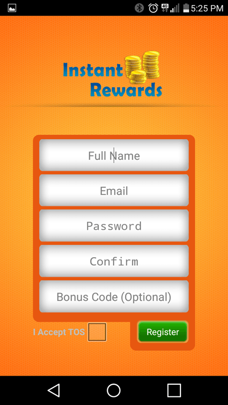 Instant Rewards Sign Up Screen