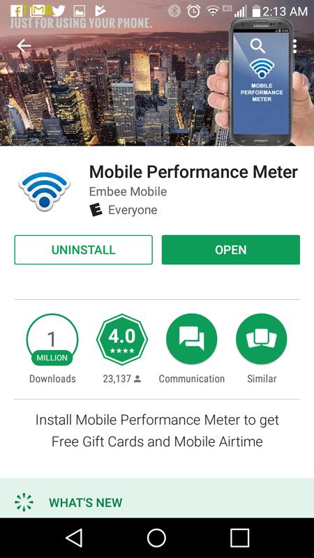 Mobile Performance Meter Basic Info
