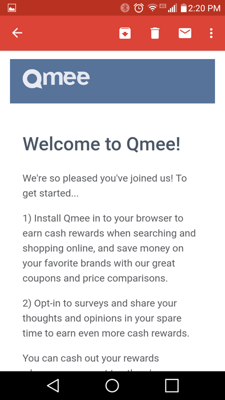 Qmee Welcome Email