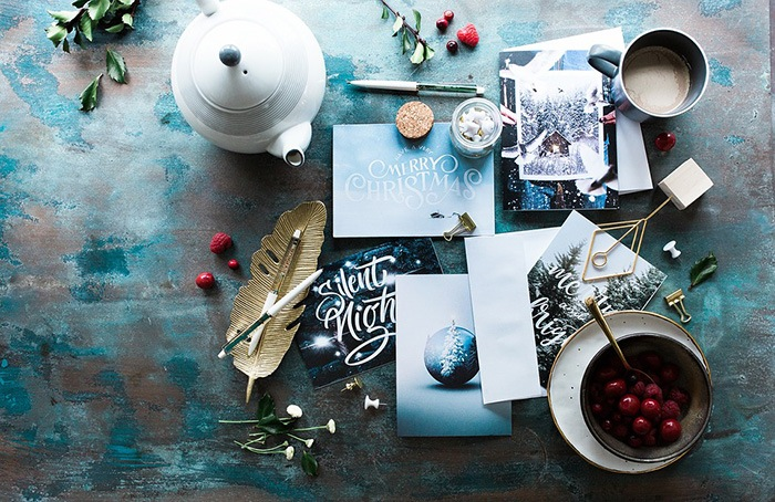 Photo of a table littered with greeting cards
