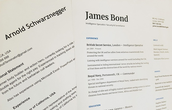 Photo of a job resume as an example of writing resumes