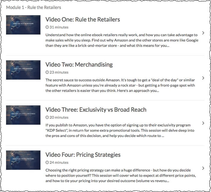 screenshot of module one videos one to four, including video titles, length, and short description of the lesson