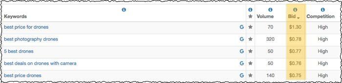 google cpc bid pricing data screenshot with bids highlighted