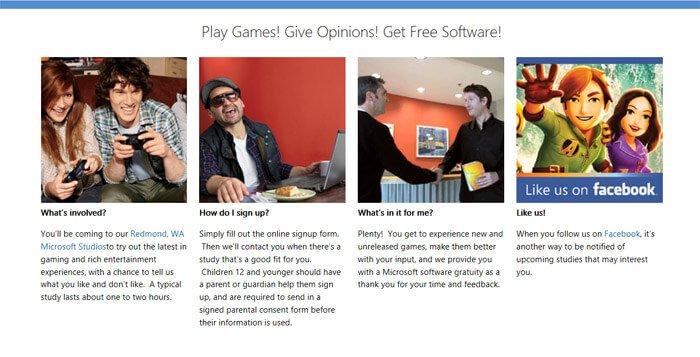 Microsoft Playtest Landing Page