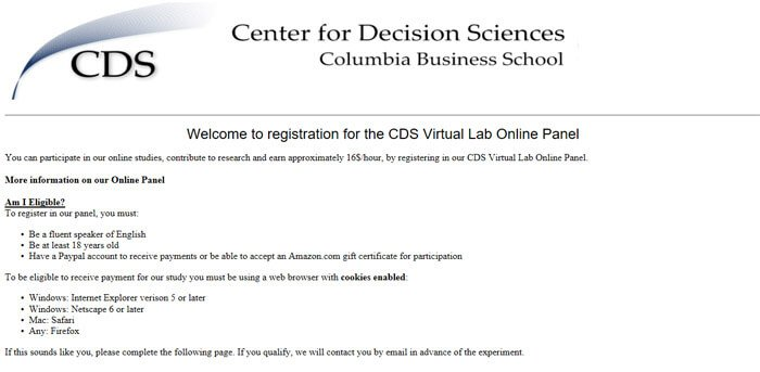Registration Welcome Page