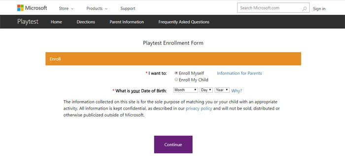 Signing Up For Microsoft Playtest