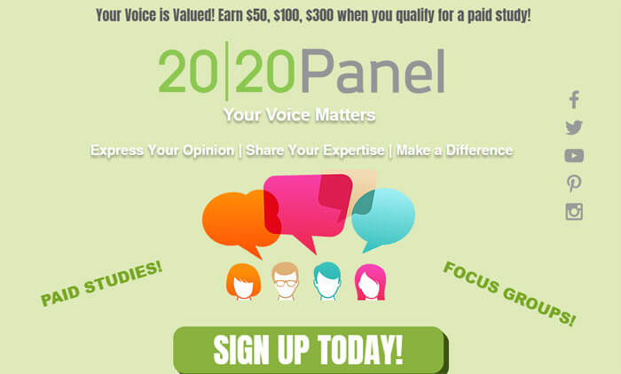 2020 Panel Sign Up Page