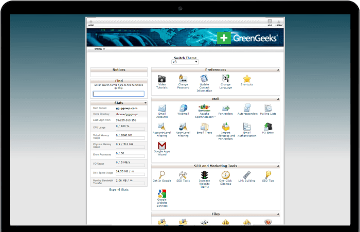 Green Geeks includes the cPanel